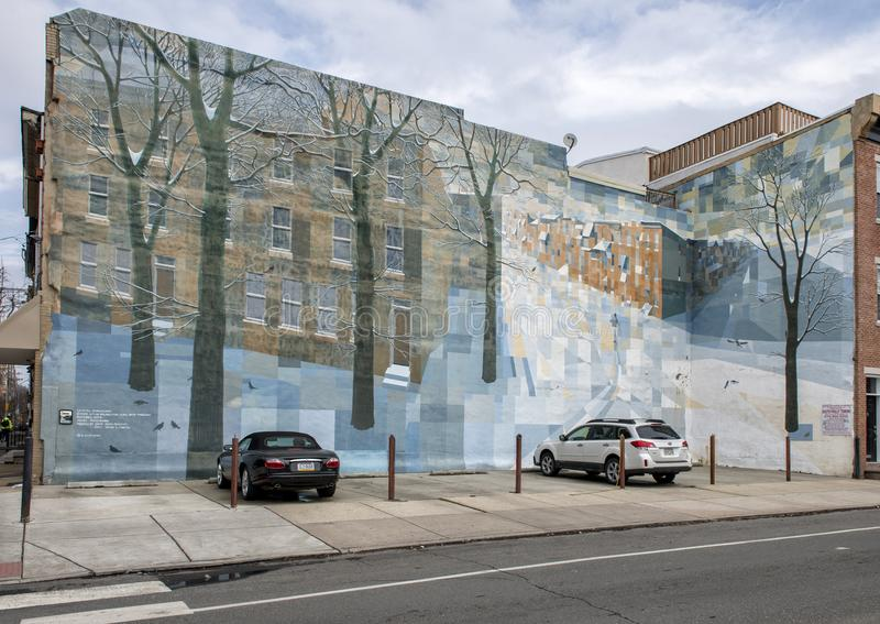 El ` de Crystal Snowscape del `, una ciudad de los artes murales de Philadelphia programa el mural en Philadelphia del sur de Dav fotografía de archivo