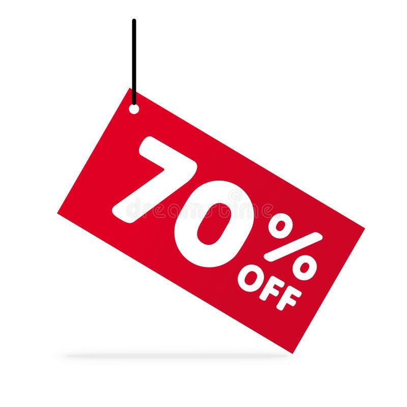 El 70% de descuento Ejemplo del precio de oferta del descuento Símbolo del descuento del vector Etiqueta roja con el texto blanco libre illustration