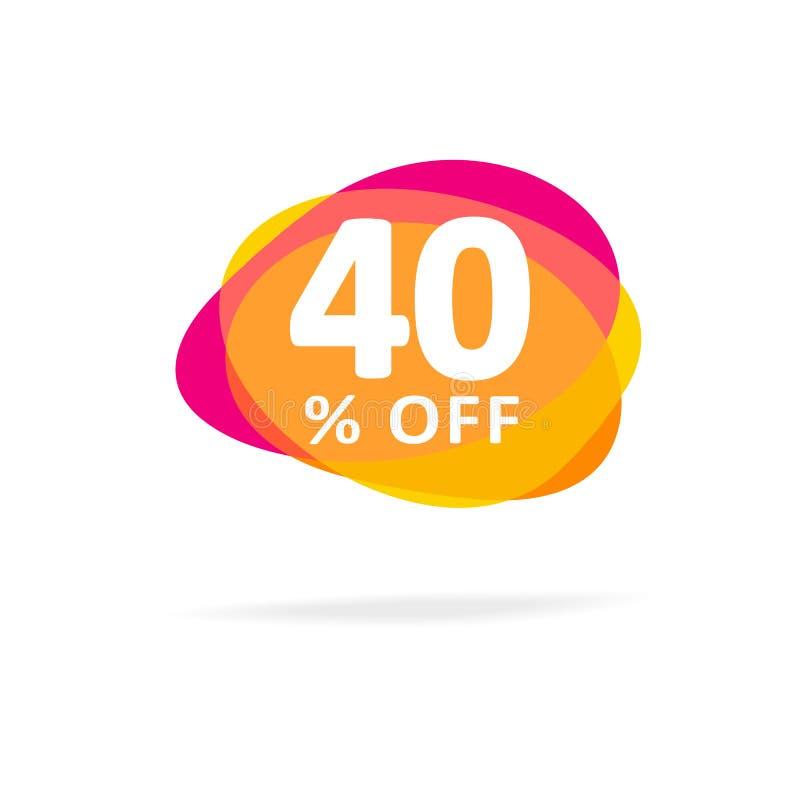 El 40% de descuento Icono colorido de la venta con la sombra aislada en un fondo blanco ilustración del vector