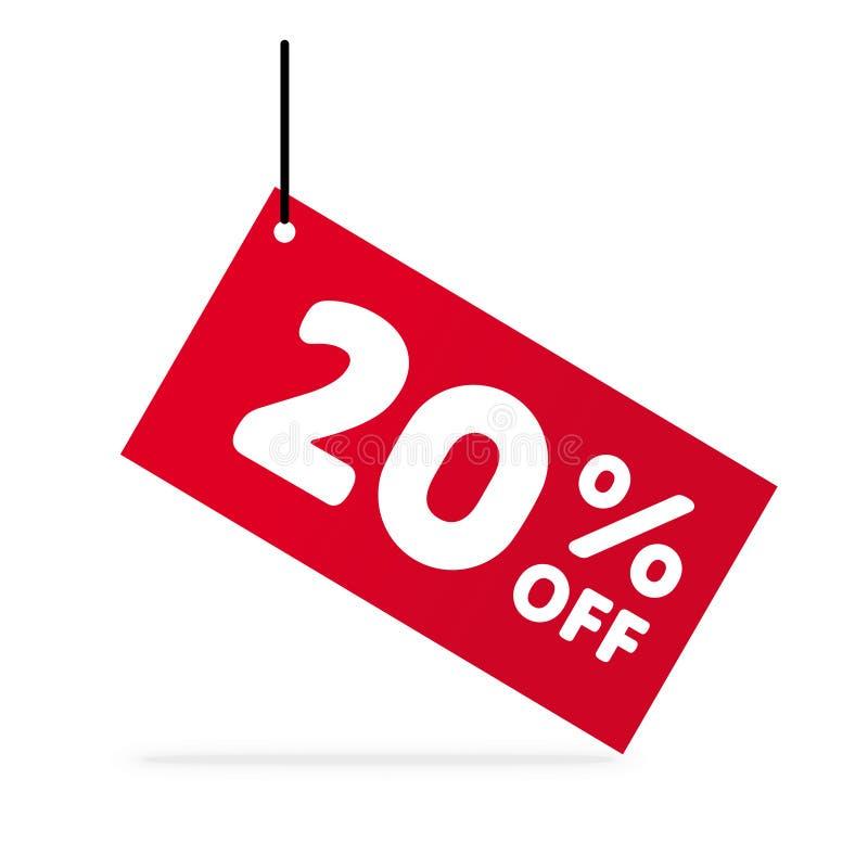 el 20% de descuento Símbolo del vector de la venta Etiqueta roja libre illustration