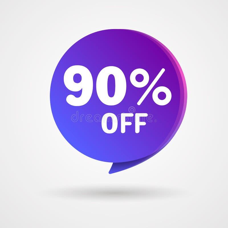 El 90% de etiqueta engomada del descuento La etiqueta azul y púrpura de la venta aisló el ejemplo del vector Etiqueta de precio d stock de ilustración