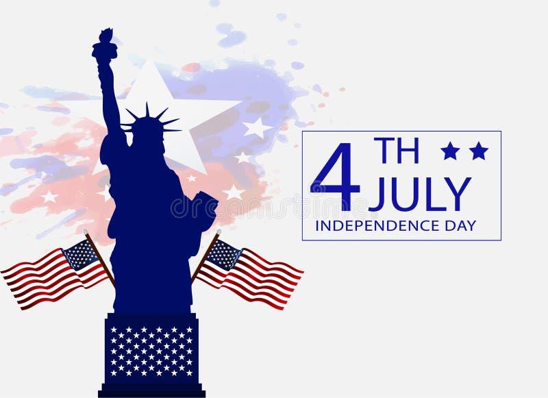 el 4 de julio, bandera feliz del Día de la Independencia, cartel, fondo, aviador, ejemplo libre illustration