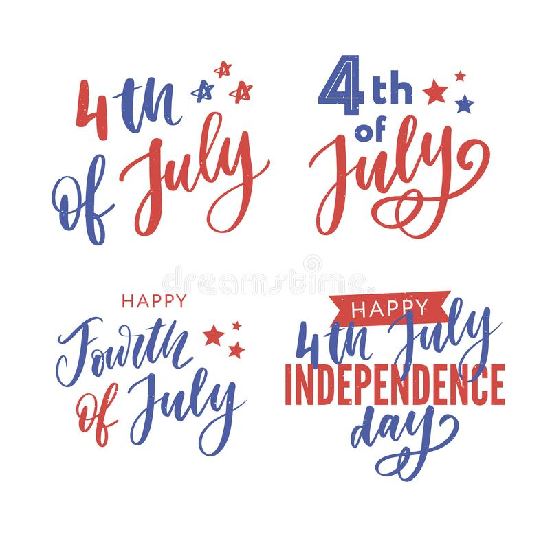 el 4 de julio Caligraf?a feliz del D?a de la Independencia imagen de archivo libre de regalías