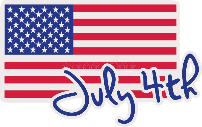 el 4 de julio con la bandera de los E.E.U.U. libre illustration