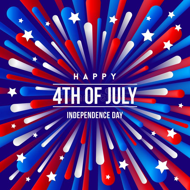 el 4 de julio, Día de la Independencia - el diseño del saludo con el fuego artificial patriótico de los colores de los E.E.U.U. e ilustración del vector