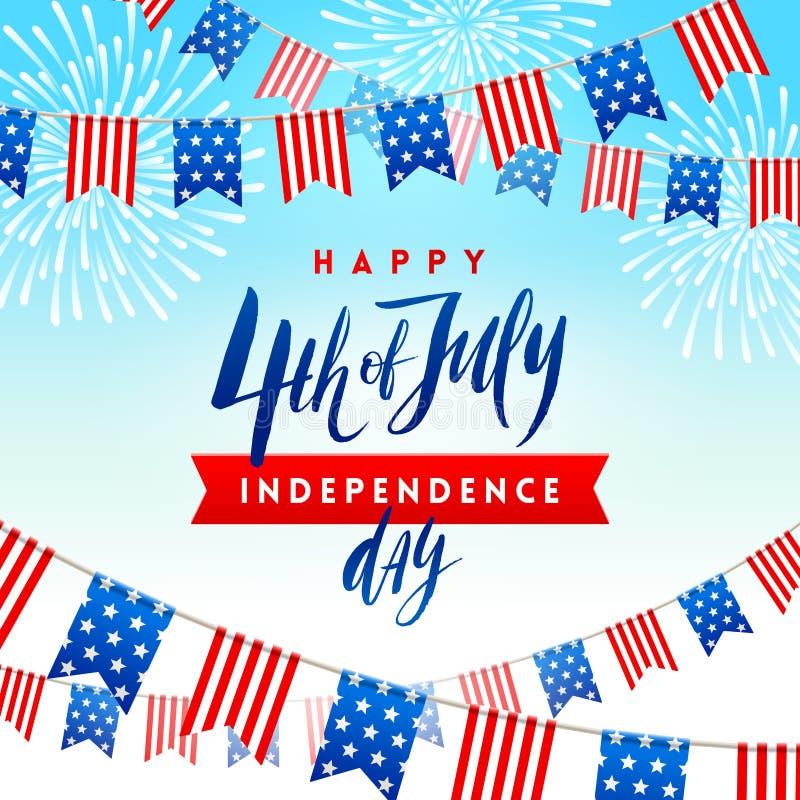 el 4 de julio, Día de la Independencia - mecanografíe el diseño con las guirnaldas patrióticas de la caligrafía del cepillo y de  ilustración del vector