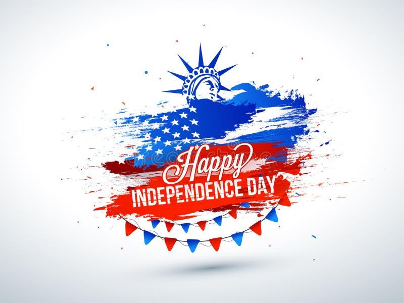 el 4 de julio, diseño del cartel de la celebración con la estatua de la libertad encendido ilustración del vector