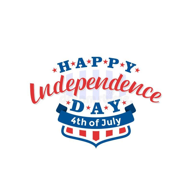 el 4 de julio Vector feliz del Día de la Independencia Cuarto del diseño del saludo de julio stock de ilustración