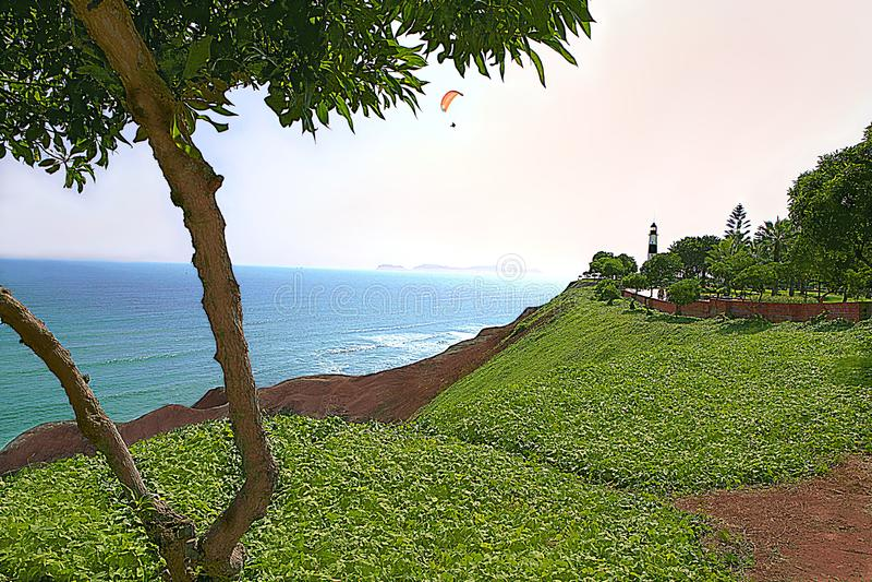 El ` de la costa del verde del ` delante del Océano Pacífico - Miraflores, Lima - Perú fotografía de archivo
