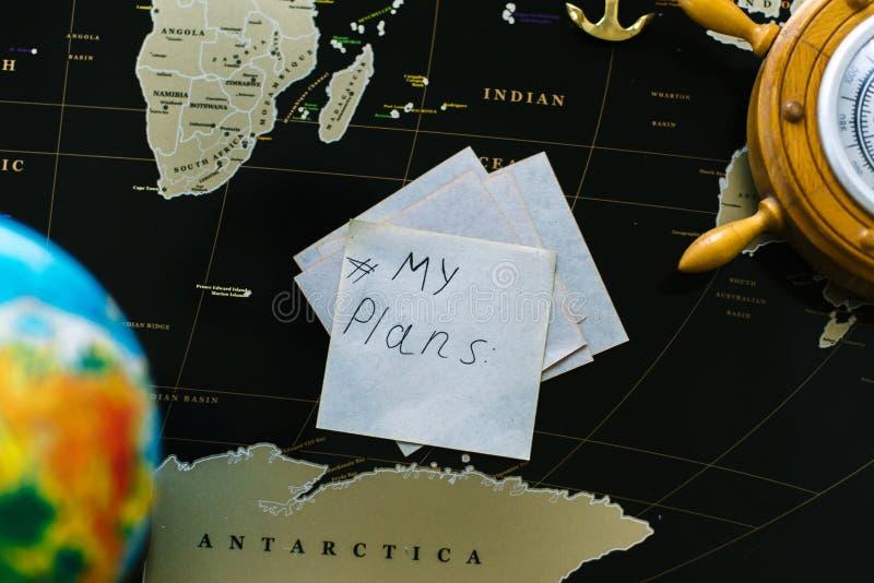 El ` de la inscripción mi ` de los planes en el fondo de la tarjeta negra imágenes de archivo libres de regalías