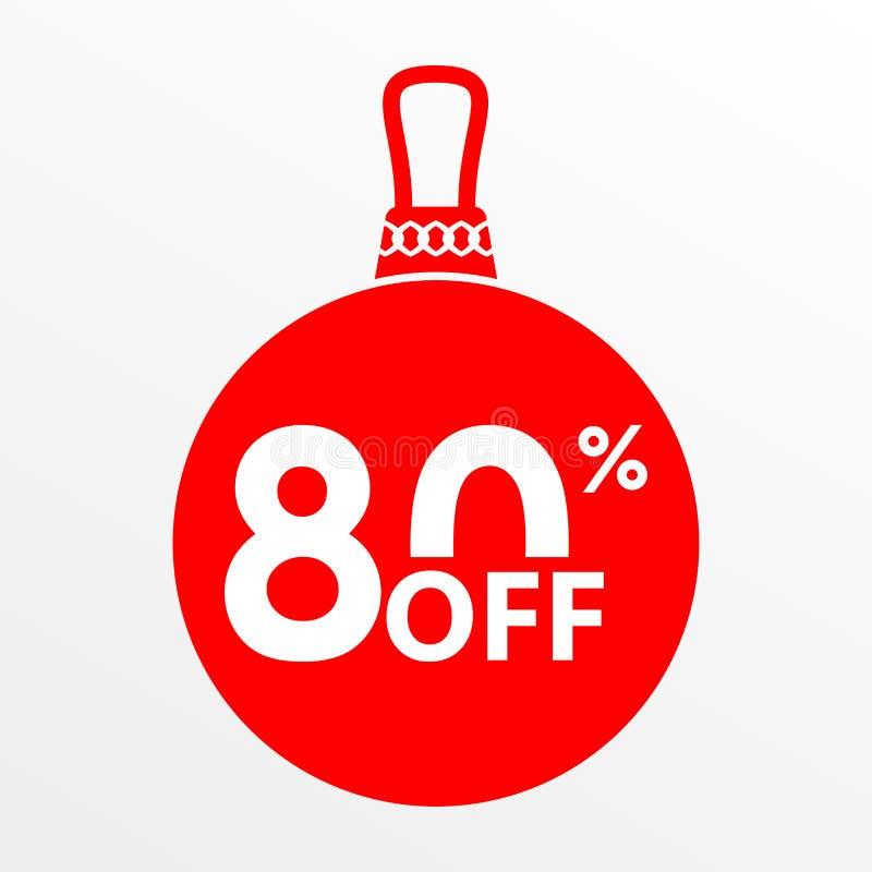 El 80% de venta Bola de la Navidad y del Año Nuevo con precio apagado o la plantilla del diseño de la etiqueta del descuento Ilus foto de archivo