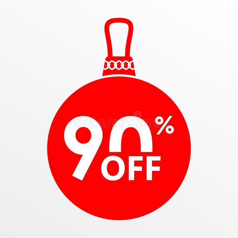 El 90% de venta Bola de la Navidad y del Año Nuevo con precio apagado o la plantilla del diseño de la etiqueta del descuento Ilus foto de archivo libre de regalías