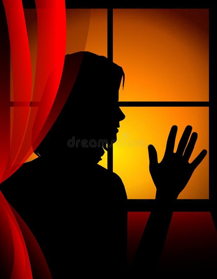 El decir adiós en la ventana de la puesta del sol stock de ilustración