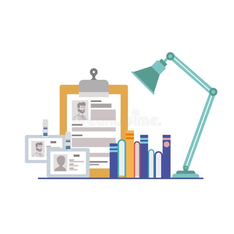 El dejar de lado con los libros en el fondo blanco ilustración del vector