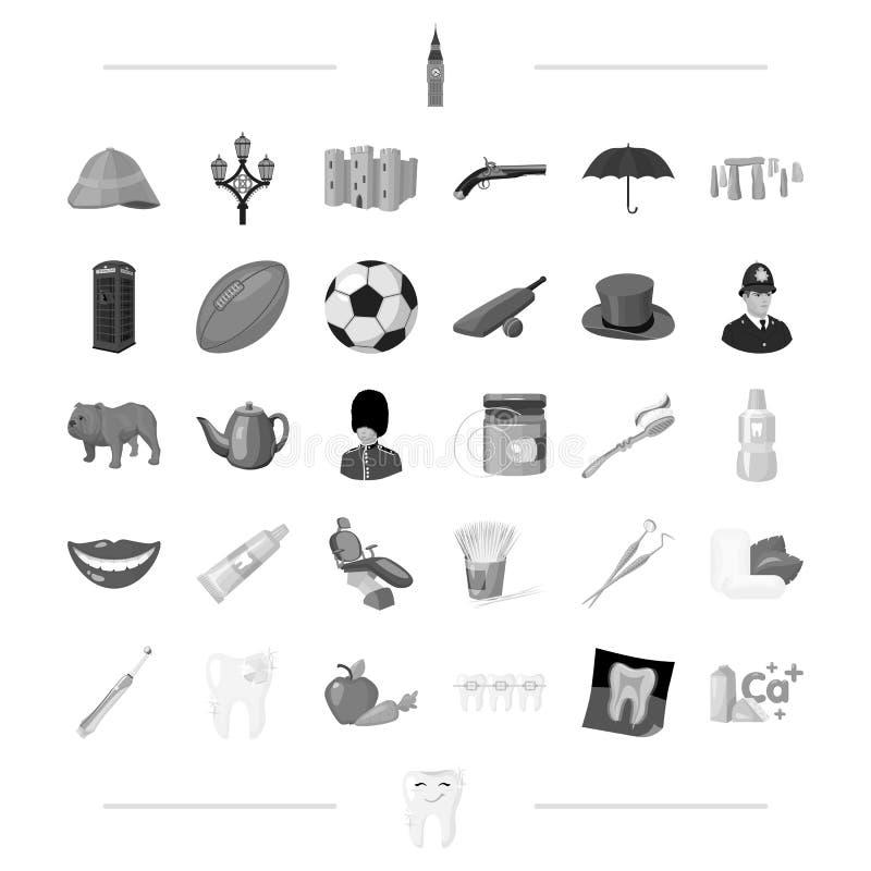El dentista, la medicina, la Inglaterra y el otro icono del web en estilo negro tradiciones, viaje, iconos de la higiene en la co ilustración del vector
