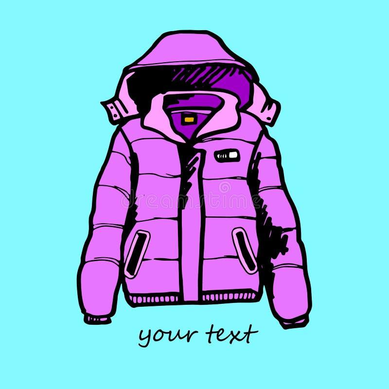 El deporte del diseño del invierno de la ropa de moda del vector de la chaqueta viste el ejemplo de la plantilla stock de ilustración