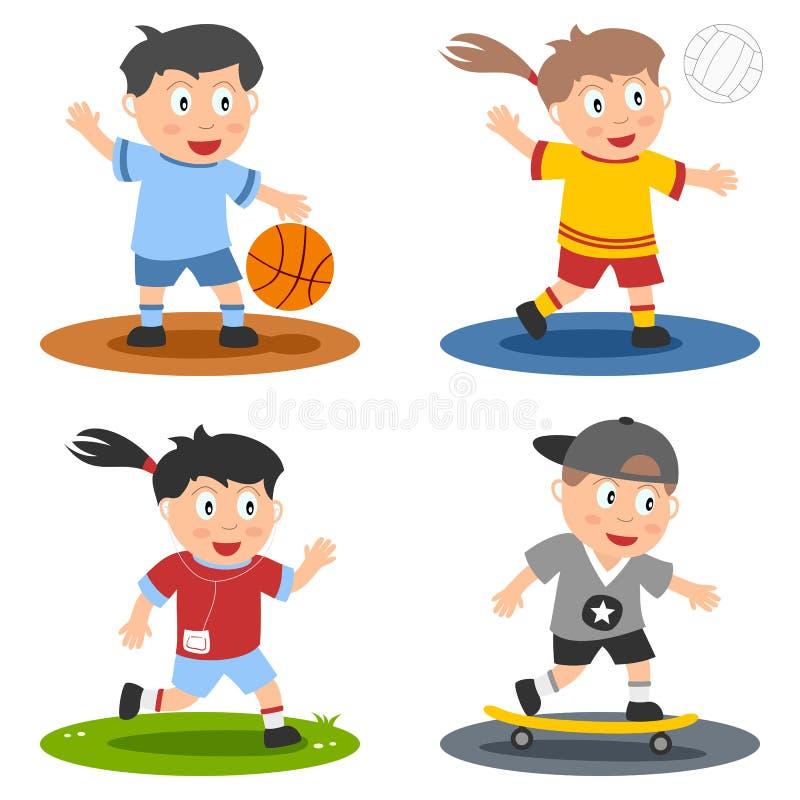 El deporte embroma la colección [1] ilustración del vector