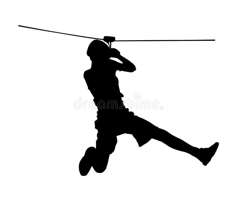 El deportista extremo tomó abajo con la cuerda Silueta del vector del hombre que sube libre illustration