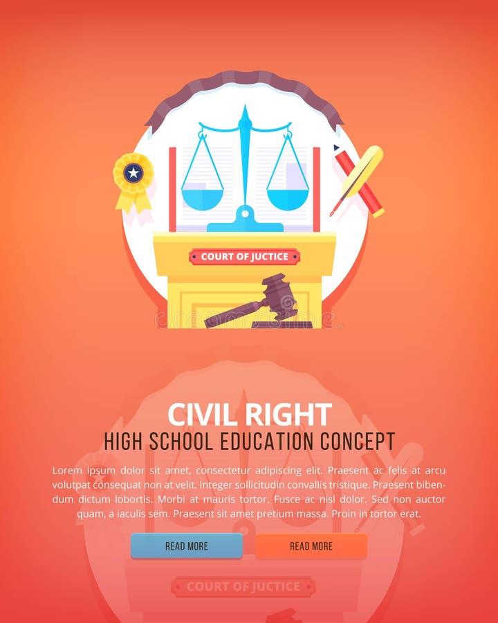 El derecho civil Conceptos verticales de la disposición de la educación y de la ciencia Estilo moderno plano ilustración del vector