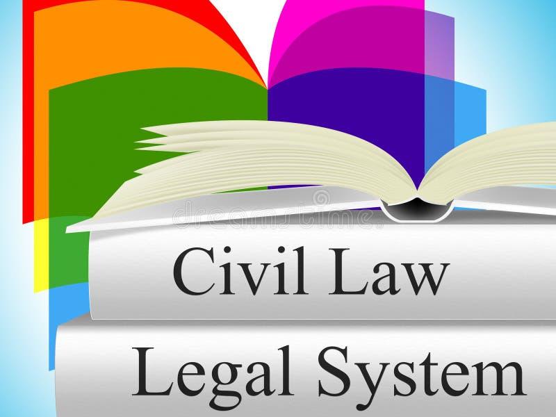 El derecho civil indica jurídico judicial y la corte ilustración del vector