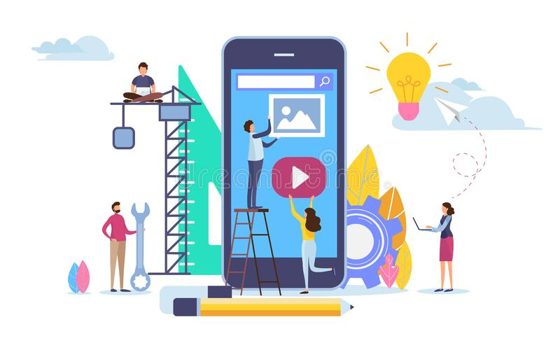 El desarrollador crea el uso Desarrollo móvil del app Gráfico de vector del ejemplo de la historieta stock de ilustración