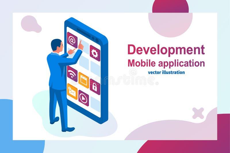 El desarrollo del interfaz, diseña el app móvil stock de ilustración