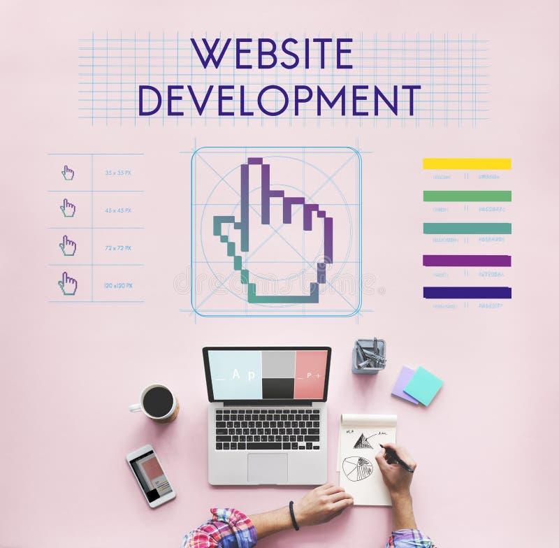 El desarrollo del sitio web liga a Seo Webinar Cyberspace Concept foto de archivo libre de regalías