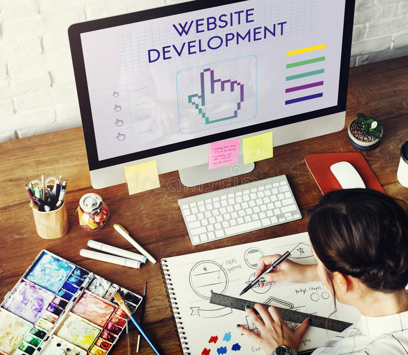 El desarrollo del sitio web liga a Seo Webinar Cyberspace Concept imagenes de archivo