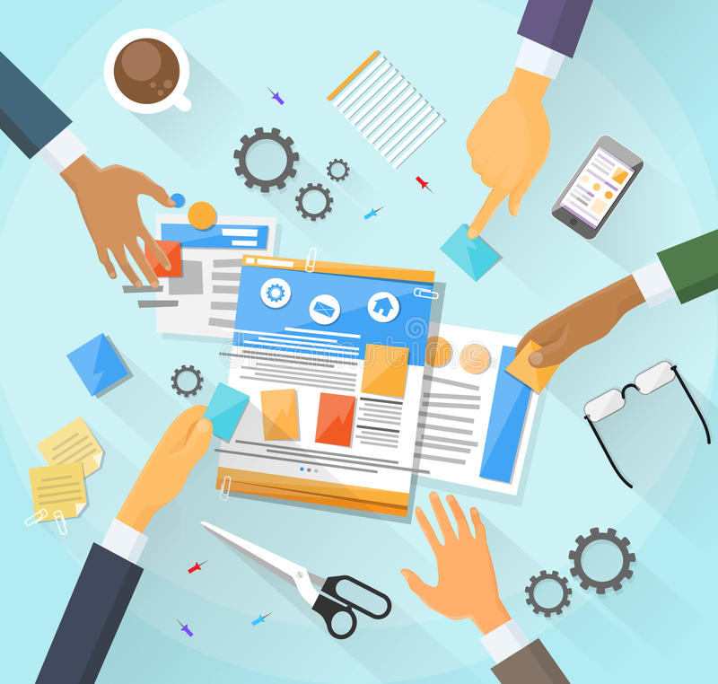 El desarrollo web crea el equipo del edificio del sitio del diseño stock de ilustración
