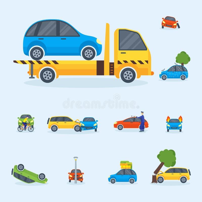 El desastre de la emergencia del automóvil de la seguridad del seguro del tráfico de la colisión del choque de coche y la reparac stock de ilustración