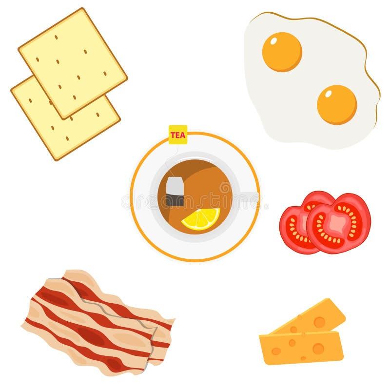 El desayuno, un sistema de los productos para el desayuno los huevos fritos, tocino, queso, tostada, tomates cortados, té r ilustración del vector