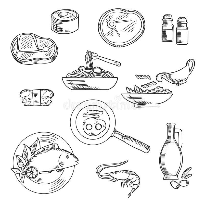 El desayuno y el almuerzo sanos bosquejaron iconos libre illustration