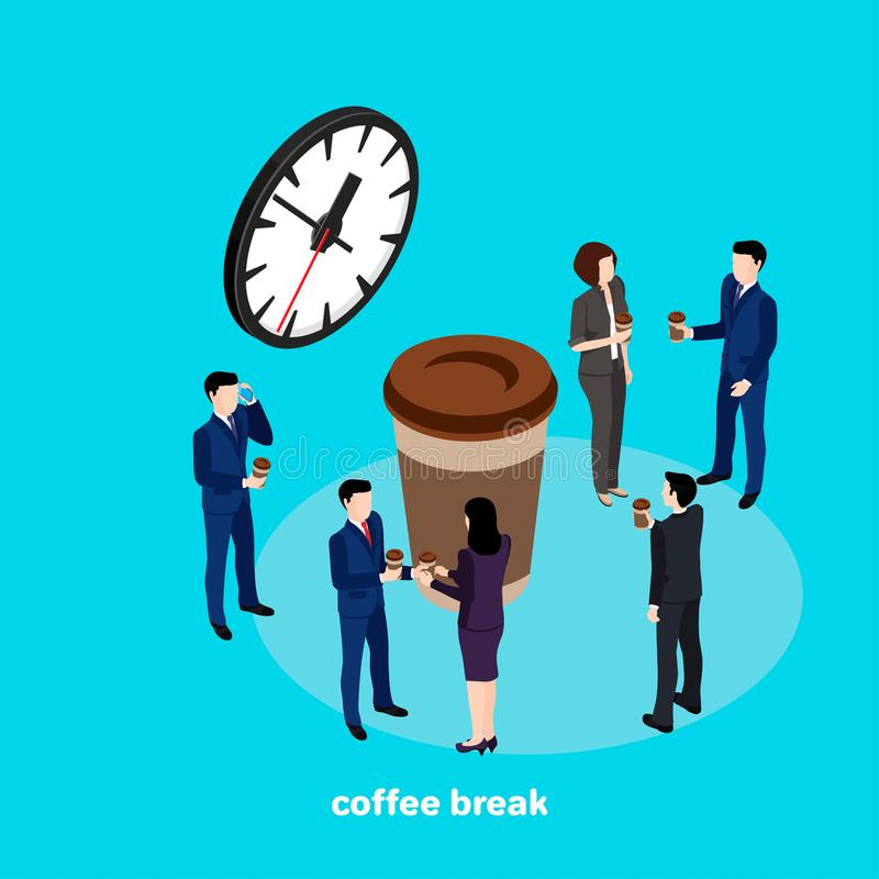 El descanso para tomar café, hombres de negocios bebe el café en el intervalo entre el trabajo en la oficina stock de ilustración