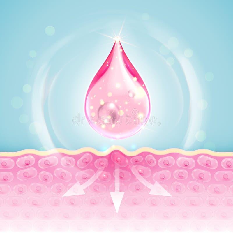 El descenso del aceite del colágeno Q10 del vector hace la piel antiarrugas stock de ilustración