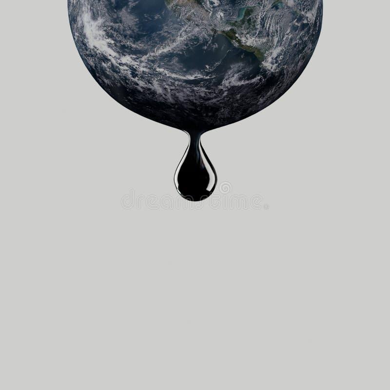 El descenso del aceite gotea de la tierra del planeta Producción petrolífera fotografía de archivo