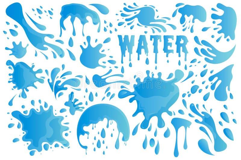 El descenso del agua azul o el elemento determinado de la decoración del chapoteo incluye de gotita, de salpicar, de gota de agua stock de ilustración