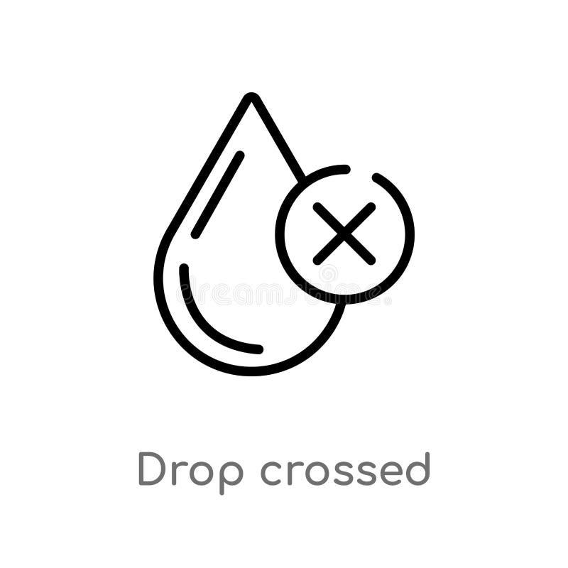 el descenso del esquema cruzó el icono del vector línea simple negra aislada ejemplo del elemento del último concepto de los glyp ilustración del vector