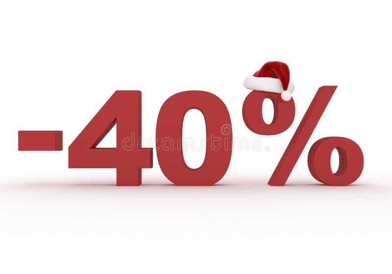 El descuento del 40 por ciento firma adentro el sombrero de Santa Claus ilustración del vector