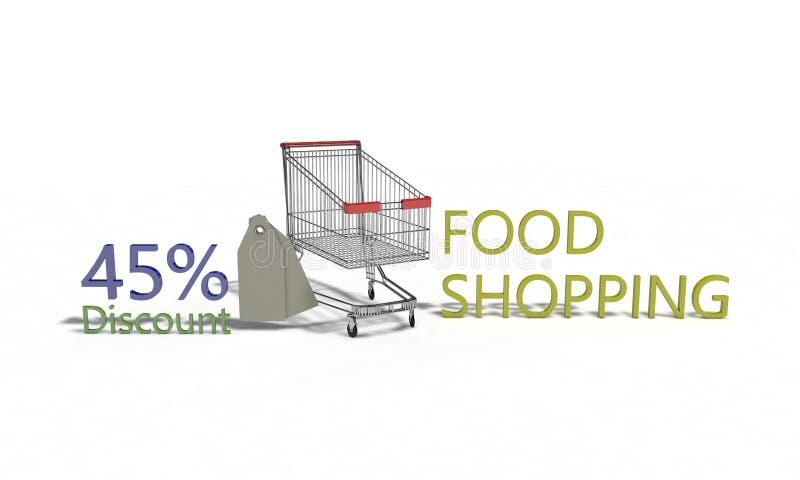 El descuento %45 en blanco, 3d de la compra de comida rinde stock de ilustración