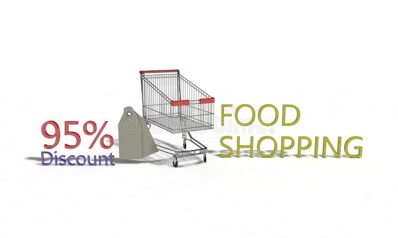 El descuento %95 en blanco, 3d de la compra de comida rinde ilustración del vector
