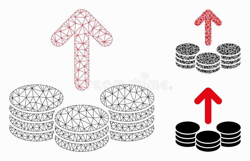 El desembolso acuña icono del mosaico del modelo y del triángulo de la malla del vector el 2.o ilustración del vector