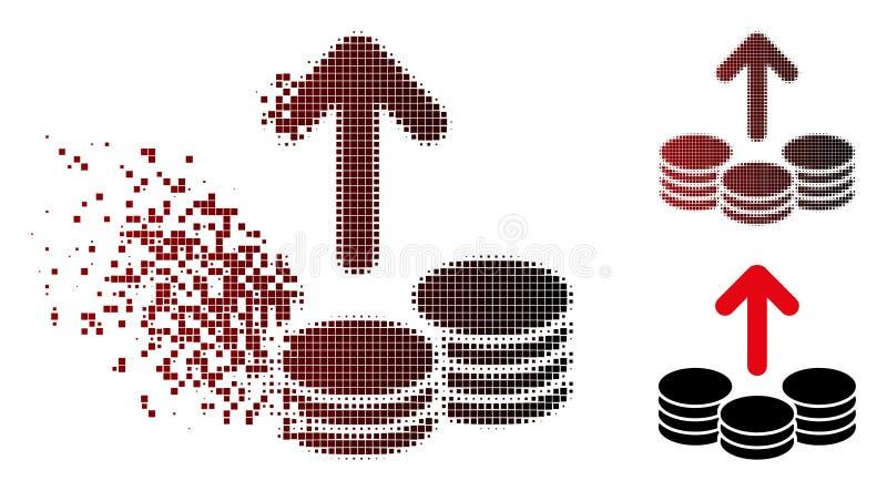 El desembolso de semitono destrozado del pixel acuña el icono stock de ilustración