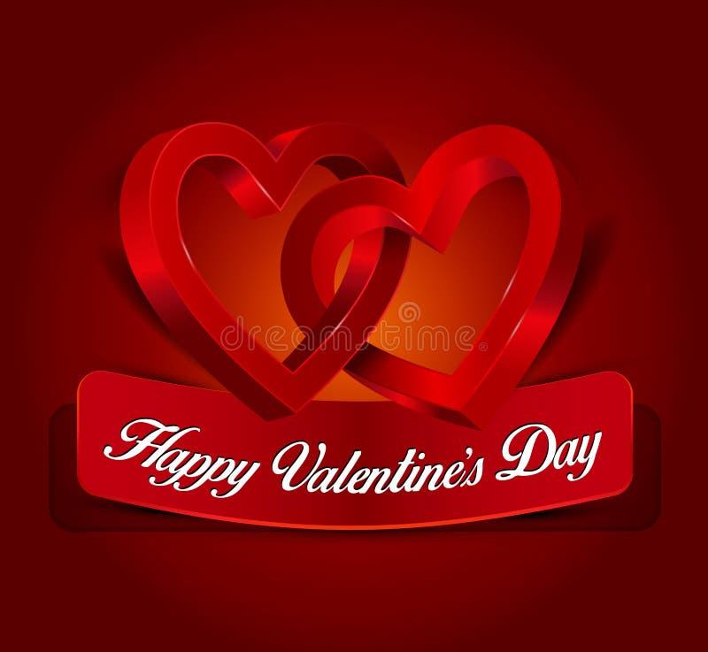 El deseo del ` s de la tarjeta del día de San Valentín con dos conectó corazones ilustración del vector