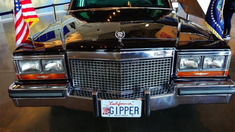 El desfile de automóviles presidencial de Ronald Reagan en la exhibición en el Ronald foto de archivo