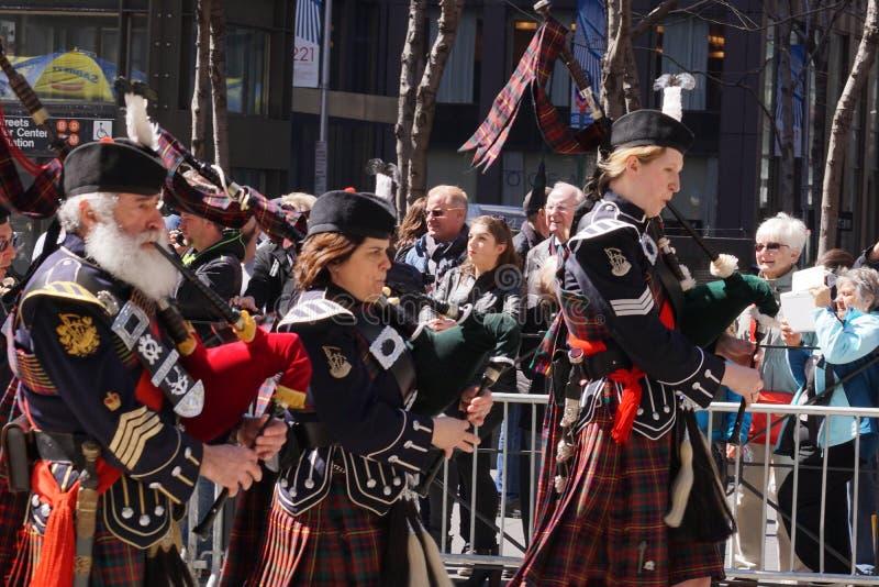 El desfile 15 del día del tartán de 2015 NYC fotografía de archivo libre de regalías