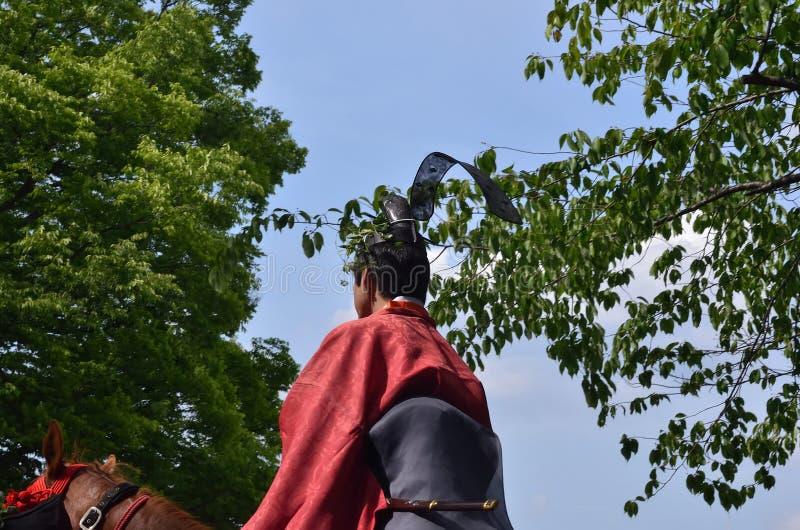 El desfile del festival de Kyoto Aoi, Japón fotos de archivo libres de regalías