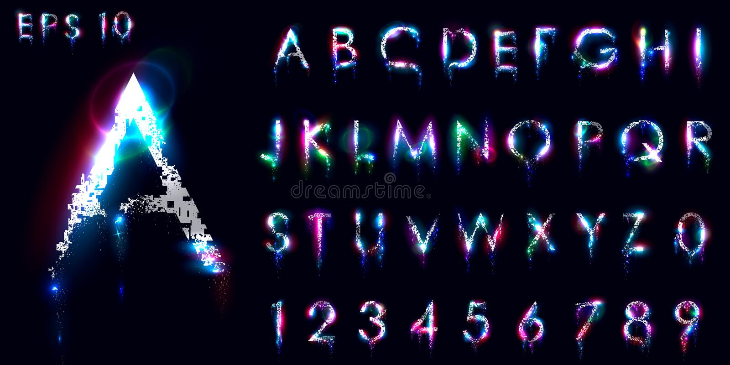 El desmenuzar y fuente luminosa, letras inglesas y números stock de ilustración