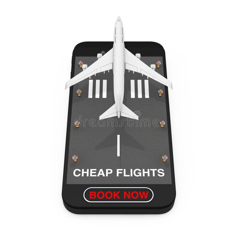 El despegue blanco de Jet Passenger \ 'del aeroplano de s del teléfono móvil con la pista, los vuelos baratos ahora firma y reser imagenes de archivo