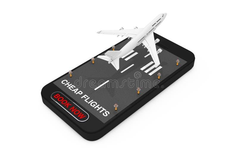 El despegue blanco de Jet Passenger \ 'del aeroplano de s del teléfono móvil con la pista, los vuelos baratos ahora firma y reser foto de archivo