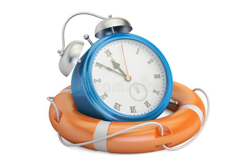 El despertador en salvavidas, ahorra concepto del tiempo representación 3d libre illustration